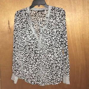 Long sleeve blouse, leopard print